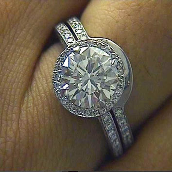 2.72ct Round Diamond Engagement Ring 18kt GIA certified DIAMOND SOLAR