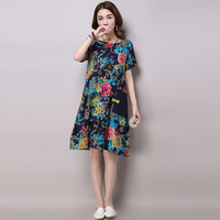 Women Vintage Oversized Floral Print Cotton Linen Dress
