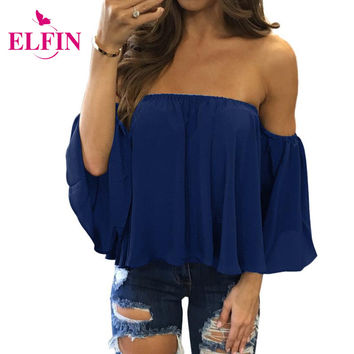 Fashion Women Sexy Chiffon Blouse Half Sleeve Slash Neck Soild Shirt Strapless Off Shoulder Feminine Blouses Ladies Tops LJ7974R