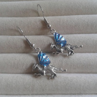 glitter blue silvertone dragon  dangle earrings