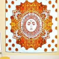 Orange Celestial Sun Boho Bohemian Wall Tapestry