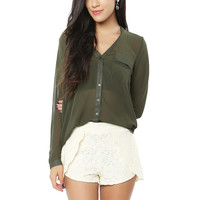 Papaya Clothing Online :: LACY SIDE OVERLAPED SHORTS