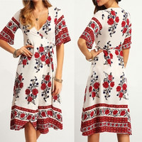 Summer Women's Fashion Red Totem Floral Print V-neck Short Sleeve One Piece Dress [6343460289]