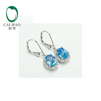 14KT White Gold Natural Topaz Diamond Engagement Earrings