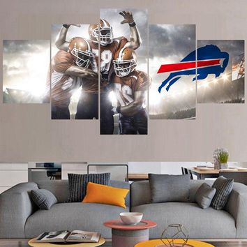 5 Panels Sport Ball Paintings Buffalo Bills Modern Home Decor Living Room Bedroom Wall Art Canvas Print Painting Calligraphy