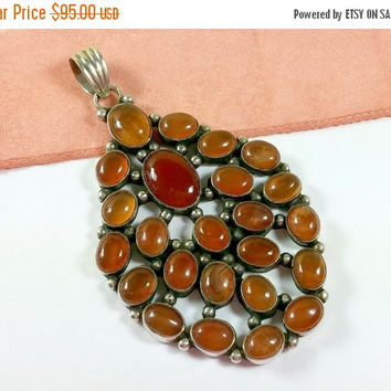 Vintage Carnelian Sterling Silver Necklace Pendant Multi Stone 24 Oval Shaped Polished Carnelian Stones Oversized Pendant Hot Diggity!