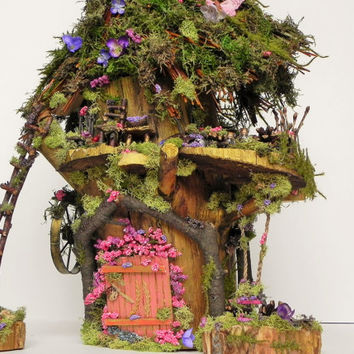 Woodland fairy house. Fairy garden, fairy furniture, miniature funiture, fairy swing, miniature gaden, fairy display. One of a kind gift!