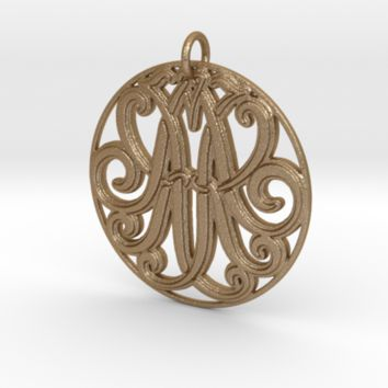 Monogram Initials KKA Pendant by CalicoFlair on Shapeways