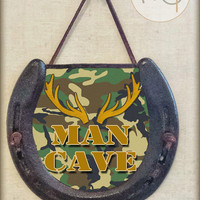 Rustic Man Cave Horseshoe Wall Hanging with Deer Antlers and Camo Image, Perfectly Aged Patina, Leather Lace Accent, Good Luck, Deer Hunting