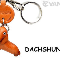 Dachshund Leather Dog Small Keychain VANCA CRAFT-Collectible keyring Made in Japan