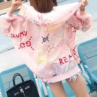 """""""Gucci"""" Women Fashion Multicolor Letter Logo Print Cardigan Zip Long Sleeve Loose Hooded Sunscreen Clothes Coat"""