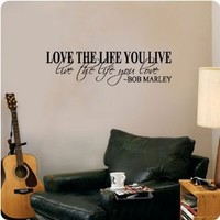 Bob Marley Quote Wall Decal Decor Love Life Words Large Nice Sticker Text