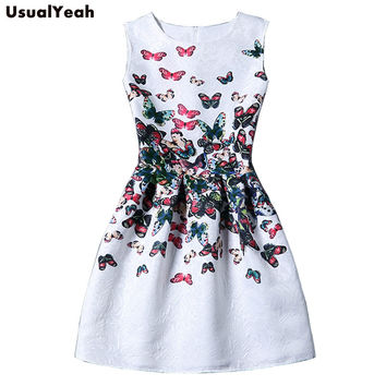 2017 Summer Dress Women Butterfly Sleeveless Casual Dresses Vestido de festa Ladies vintage print plus size jacquard clothing