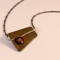 "Roller Printed Copper Necklace with Origami Paper and Resin- Gold, Red, Purple- on 16"" Antique Copper Chain  Ask a Question"