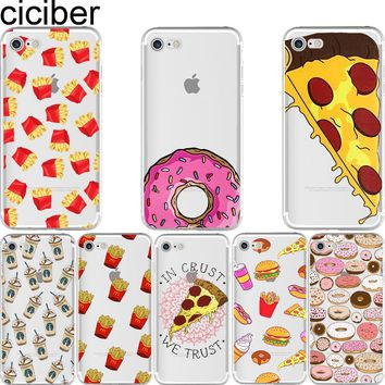 ciciber Phone cases Fries Donuts Pizza Food Pattern Design soft silicon case cover For iPhone 6 6S 7 8 plus 5 5S SE X Capinha