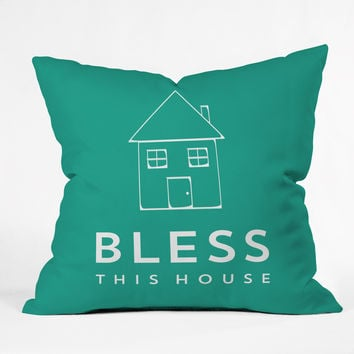 Allyson Johnson Bless This House Outdoor Throw Pillow