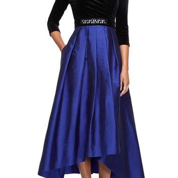 Alex Evenings Velvet & Taffeta Fit & Flare Dress | Nordstrom