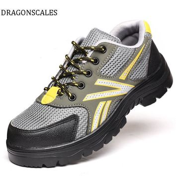 DRAGONSCALES Men color steel toe cap work safety shoes mesh casual breathable outdoor