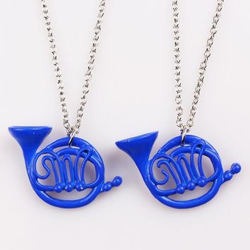 How I Met Your Mother Necklace Blue French Horn and Yellow Umbrella Pendant with silver chain Alice in wonderland Accessories