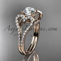 "14kt rose gold heart engagement ring, wedding ring  with a ""Forever One"" Moissanite center stone ADER395"