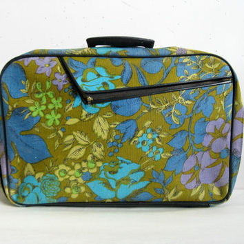 Vintage 1960s Floral Luggage Ochre Blue Flower Canvas Suitcase Carry On Fabric Luggage