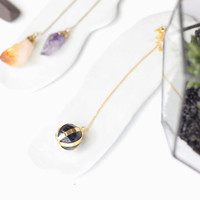 Amethyst Ball Necklace-Gold Plated Silver