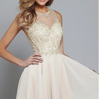 [95.99] Elegant Tulle & Chiffon Jewel Neckline A-line Homecoming Dresses with Lace Appliques - dressilyme.com