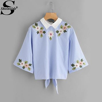Sheinside Embroidery Blouse 2017 Women Blue Strip Half Sleeve Turndown Collar Shirt Back Bow Tie Cut Autumn Tops Casual Blouse