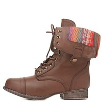 Bamboo Print-Lined Fold-Over Combat Boots