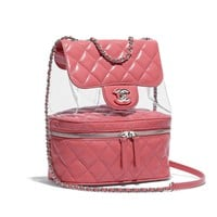 Crumpled Calfskin, PVC, Resin & Silver-Tone Metal Pink Flap Bag | CHANEL