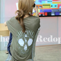 YESSTYLE: REDOPIN- Set: Crocheted-Skull Slit-Detail T-Shirt + Camisole - Free International Shipping on orders over $150