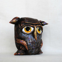 Soft Sculpture Halloween Owl, Primitive Owl, Stuffed Owl Fabric Owl, home decor, soft art creature