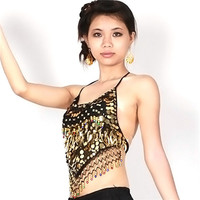 Tribal Belly Dance Costume Choli Top Bra Beads Bells  10 color