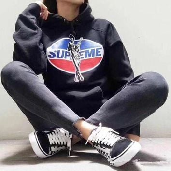 VLXZGW7 Supreme x Hysteric Glamour' Women Casual Fashion Letter Pepsi Cola Pattern Print Long Sleeve Hooded Sweater Sweatshirt Tops