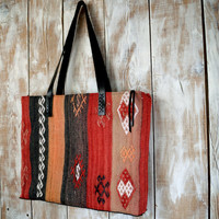 Kilim Rug Tote,Carpet Zippered Tote,Turkish Kilim Tote,Ethnic Zippered Tote Bag,Leather Strap Tote,Boho Tote Bag,Kilim Zippered Tote