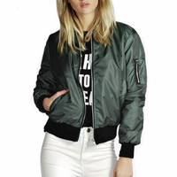 Solid Color Fashion Zipper Jacket