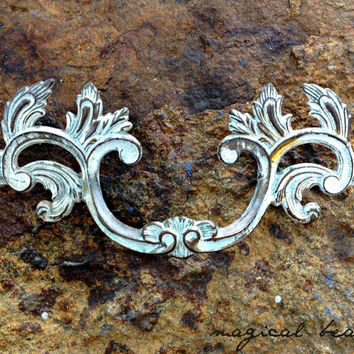 "French Provincial 6"" Brass Pull, Chippy White Overlay, Vintage Waterfall Hardware, Authentic Salvaged Restoration Handle"