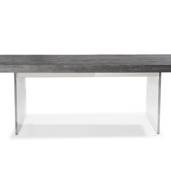 DANYAL PINE AND LUCITE DINING TABLE