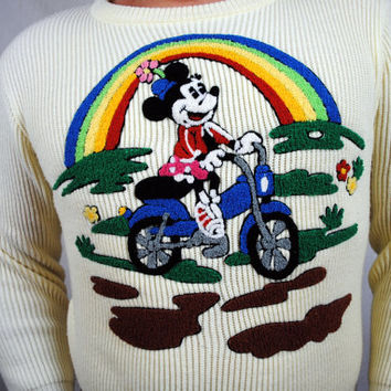 Ultra RARE Amazing Vintage 1970s Mickey Minnie Mouse Walt Disney Rainbow Knit Sweater - Sunday Comics Tag