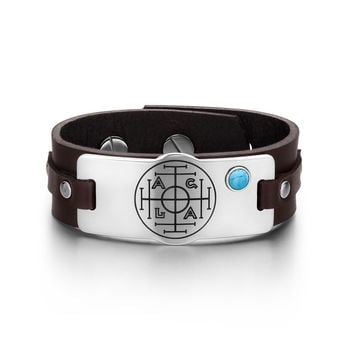 Fortune Wealth and Success Magic Circle Amulet Simulated Turquoise Adjustable Dark Brown Leather Bracelet