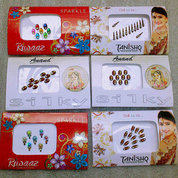 6 Bindi Packets - Crystal Gems Stickers -Tattoos - Body art - Temporary Bridal make up - Fancy Bindis