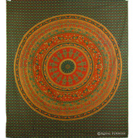 Red India Mandala Hippie Bohemian Tapestry