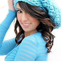 Crocheted Slouch Hat Teen Hats Peacock Blue Back to School Fashion Crochet  Womens Hats Chunky Crochet Hat Fall Fashion