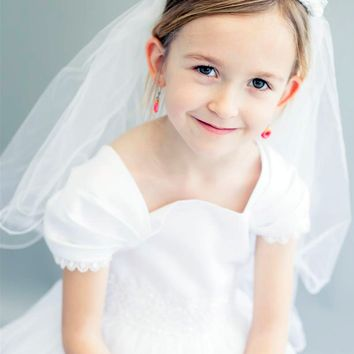 Floral Satin Crown with Rhinestones, Pearls & Long White Tulle Veil First Holy Communion (Girls)