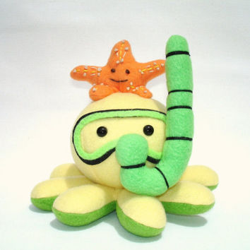 octopus toy with snorkel and starfish friend in yellow, green, and orange fleece