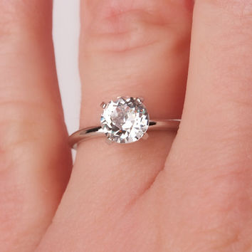 Vintage Solitaire Silver Tone Ring by Uncas Size 6