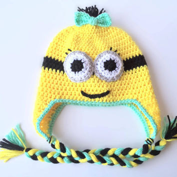 Crochet Minion Beanie - Crochet Beanie - Minion beanie - Girls Minion beanie - Minion hat - Girls accessory - Halloween - Despicable Me