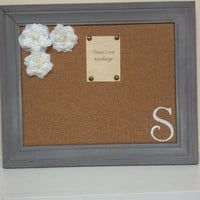 SALE  Message Board, Bulletin Board, Cork Board, Memo Board in Grey Frame with Monogram and Roses