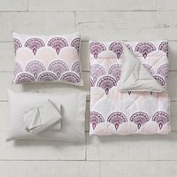 Feather Scallop Value Comforter Set with Sheets, Pillowcase, Comforter + Sham