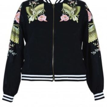 PU Embroidered Bomber Jacket from Anna Scholz plus size Jacket collections online. Buy women's fashion clothing in sizes 16 - 28